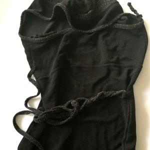 sukienka koktajlowa czarno- srebrno-brokat długa