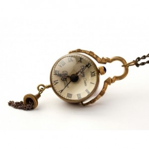 DROBINA CZASU GOLDEN - zegarek wisiorek na łańcuszku