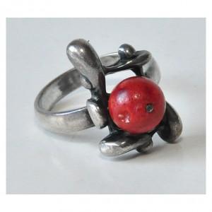 pierścionek vintage, naturalny koralowiec, pierścionek z koralem, lata 80-te; autorski pierścionek z koralowcem (5)
