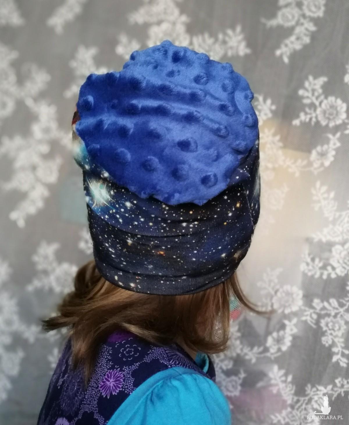 czapka kosmiczna unisex wiosenna dla dziecka na 1-2 lata-box 33- czapka kosmiczna unisex wiosenna dla dziecka handmade