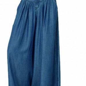 spodnie szerokie bawełniane w kolorze jeansu cudowne
