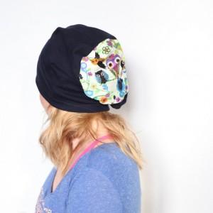 czapka damska dzianinowa w sowy