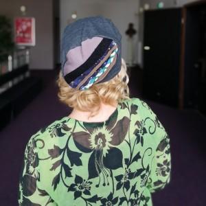 czapka szara damska dzianina w stylu boho etno folk handmade