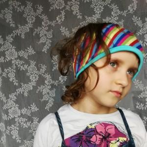 opaska wiosenna w paski dla dziewczynki handmade