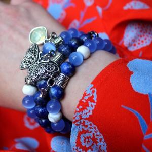 Komplet bransoletek z kociego oka i lapis lazuli