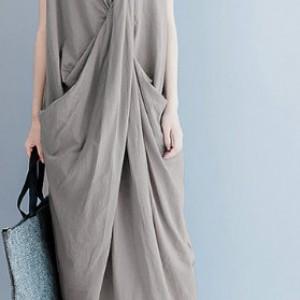 sukienka długa kolor khaki beż rozmiar M