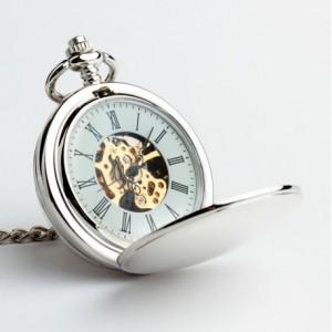 DWUSTRONNY (SILVER) - zegarek kieszonkowy, dewizka