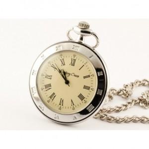 SREBRNY KLASYK - zegarek kieszonkowy, dewizka