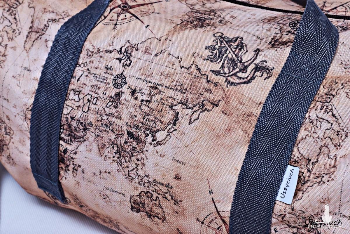 Torba podróżna wodoodporna podręczna, torba na basen siłownię, torba sportowa retro mapa
