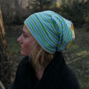 czapka damska męska bawełniana sportowa smerfetka w paski handmade