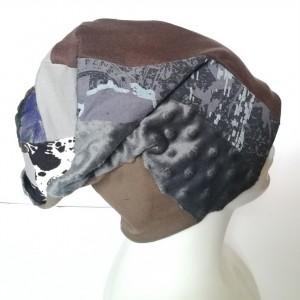 czapka patchworkowa wiosenna na podszewce unisex handmade