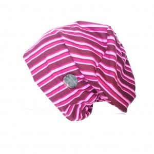 czapka damska w paski wiosenna sportowa amarant róż