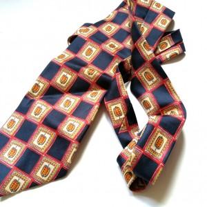 krawat jedwabny  owocowy boho vintage