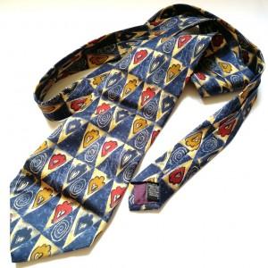 krawat vintage jedwabny w kolorze niebieskim firma marks & spencer