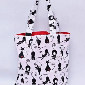 Torba na zakupy koty serca Shopperka eko torba, siatka na zakupy, torba z kotem