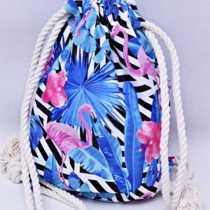 Workoplecak wodoodporny, worek plecak, torba na plecy, worek ze sznurami, plecak wodoodporny flamingi niebieskie