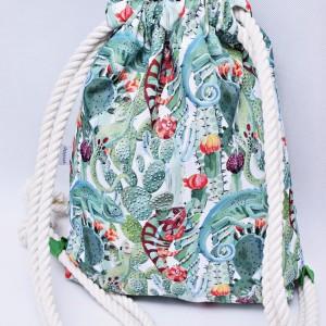 Workoplecak wodoodporny, worek plecak, torba na plecy, worek ze sznurami, plecak wodoodporny kameleony