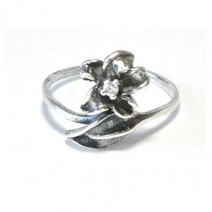 42 pierścionek vintage, srebrny pierścionek, kwiatek z cyrkonią; na prezent, na co dzień;
