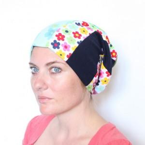 czapka patchworkowa kolorowa damska