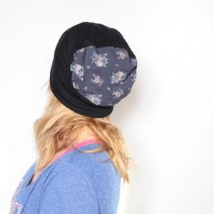 czapka dresowa damska w kwiaty