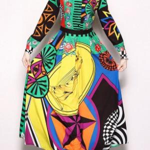 sukienka długa boho kolorowa bardzo energetyczna M