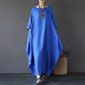 niebieska sukienka oversize bawełna L