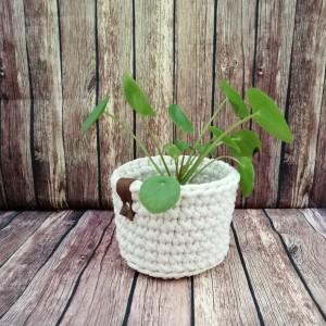 Koszyk ze sznurka bawełnianego kremowy,S/M/L
