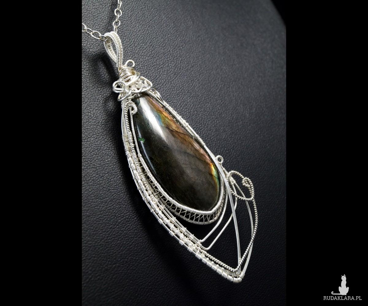 Fioletowy Labradoryt, Srebrny wisiorek z Labradorytem, ręcznie wykonany, prezent dla niej, prezent dla mamy, prezent urodzinowy, biżuteria