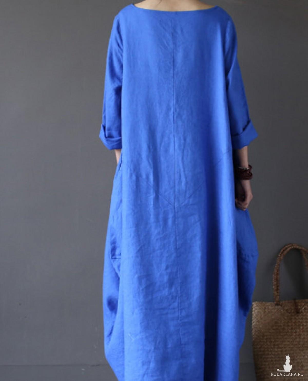 niebieska sukienka oversize bawełna XL