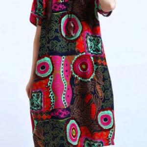 kolorowa sukienka we wzory bawełna z lnem 2XL