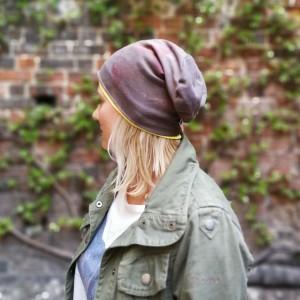 czapka dzianinowa wiosenna ręcznie farbowana