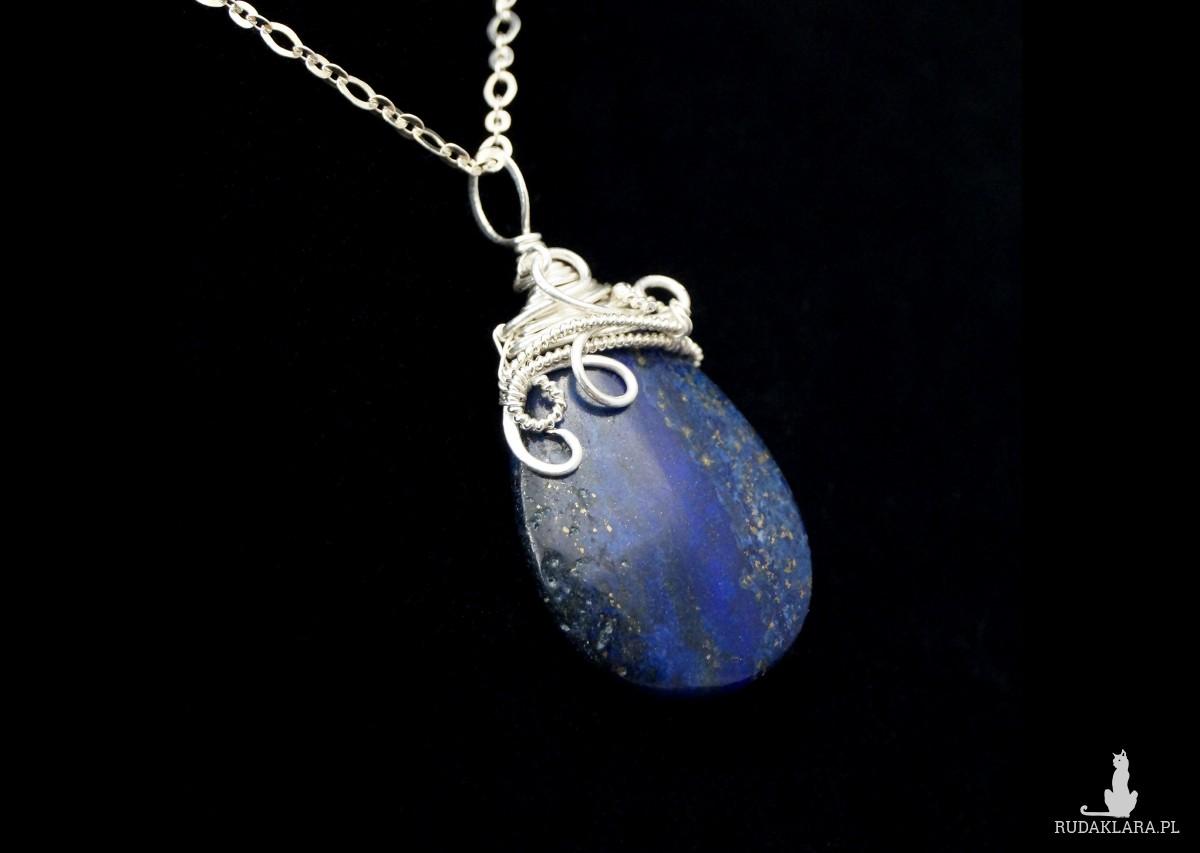 Lapis Lazuli, Srebrny wisior z Lapisem lazuli, ręcznie wykonany, prezent dla niej, prezent dla mamy, prezent urodzinowy, biżuteria autorska