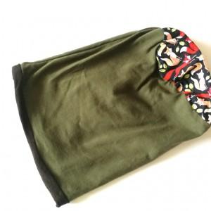 czapka damska zielona w liski wiosenna handmade