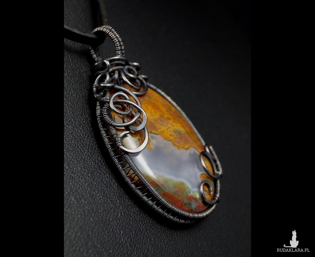 Agat, Wisior miedziany z agatem, ręcznie wykonany, prezent dla niej, prezent dla mamy prezent urodzinowy biżuteria autorska