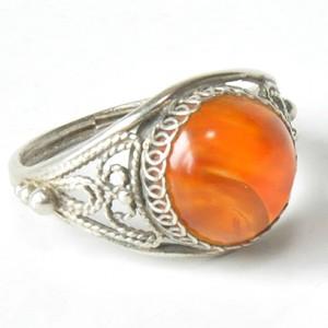 66 pierścionek vintage, srebrny pierścionek z agatem; filigran;