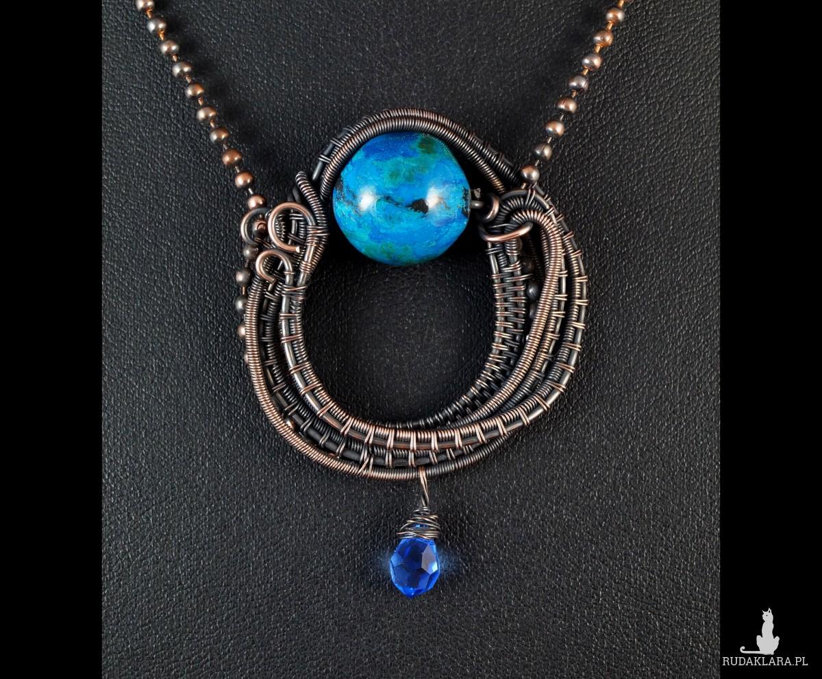 Chryzokola, Miedzinay wisior z chryzokolą, ręcznie wykonany, prezent dla niej, prezent dla mamy, prezent urodzinowy, biżuteria autorska