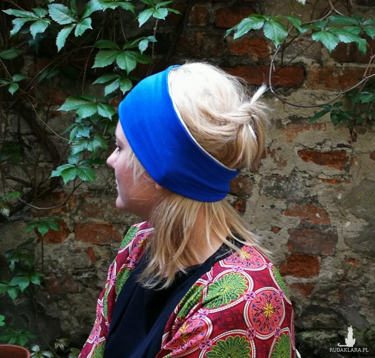 opaska damska niebiesko szara