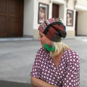 czapka patchworkowa kolorowa damska przejściówka boho
