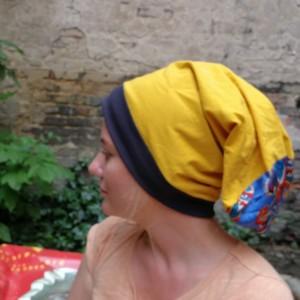 czapka damska zółta dzianina wiosenna bardzo długa duza kolorowa boho