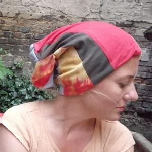 czapka damska patchworkowa ciepła miękka- box 22- na podszewce, długa smerfetka