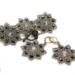 Komplet bizuterii koronkowa bransoletka z koralików + kolczyki