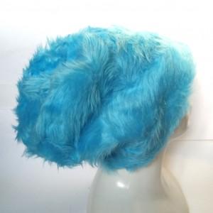 czapka damska futro niebieskie sztuczne