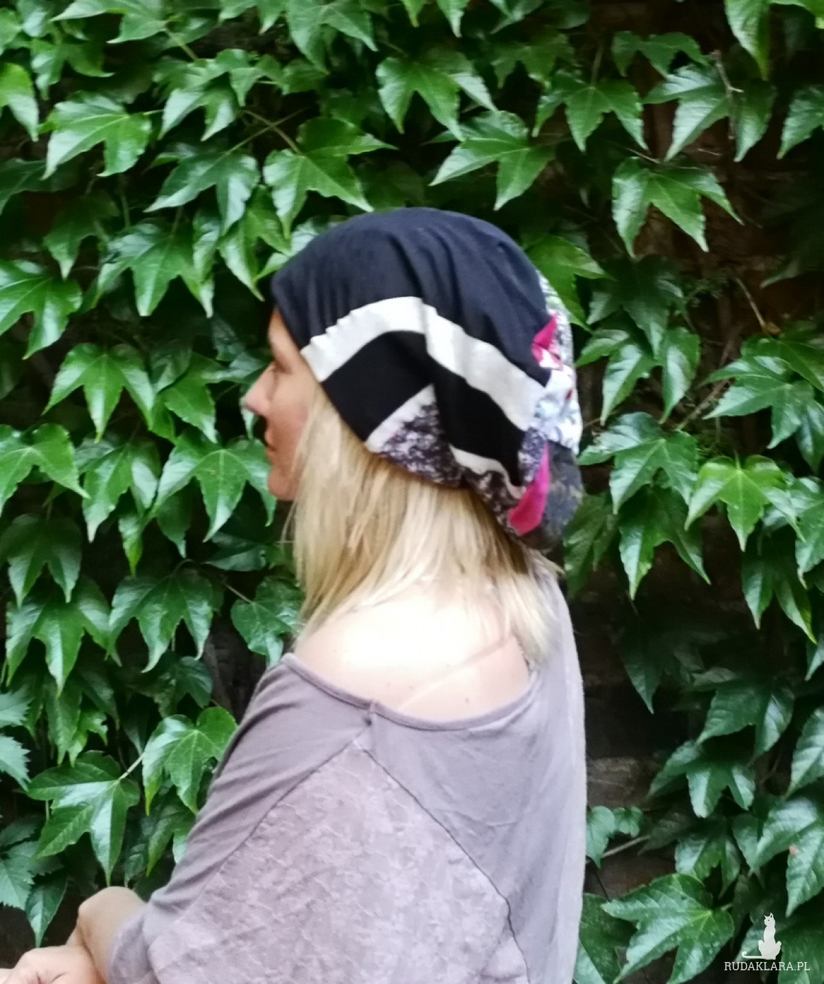 czapka damska szyta patchworkowo handmade