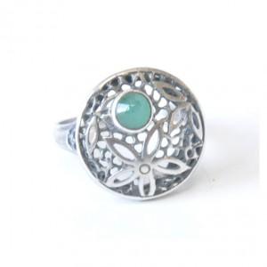 81 śliczny pierścionek vintage; srebrny pierścionek z naturalnym szmaragdem; na prezent, na co dzień;,