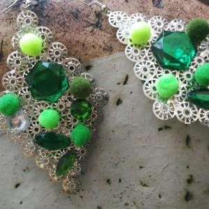 kolczyki długie duże boho kolor zielono- srebrne