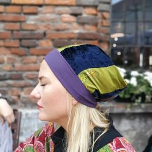 czapka patchworkowa bardzo długa letnia handmade