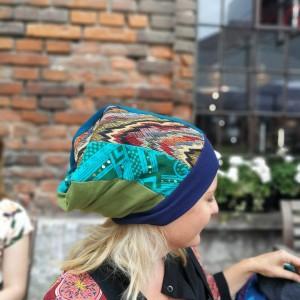czapka patchworkowa bardzo długa letnia- box a1-nie wspominaj ważce ze się marzy traszce