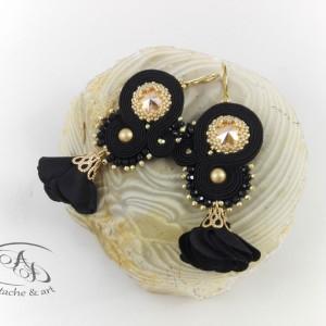 Kolczyki sutasz czarne złote z kryształami Swarovskiego