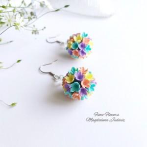 Kolczyki kule z kwiatami