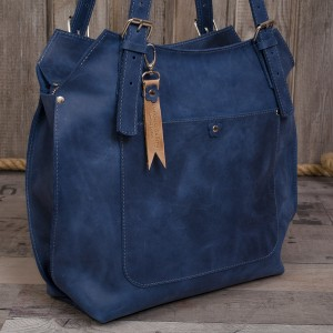 Ręcznie robiona skórzana torebka niebieska, skórzane torby, skórzane torebki damskie